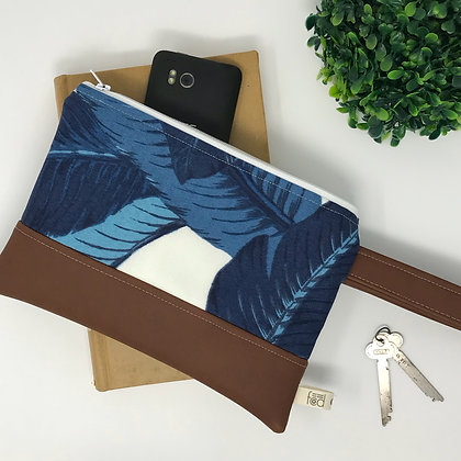Wholesale Mini Wristlet - Indigo Bahama Palm