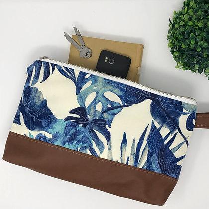 Wholesale Medium Clutch - Indigo Palm