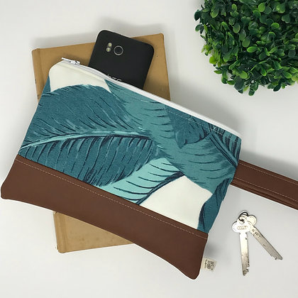 Teal Bahama Palm | Mini Wristlet