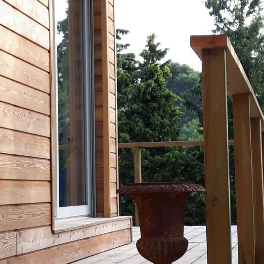 Surélévation avec terrasse ,finition enduit