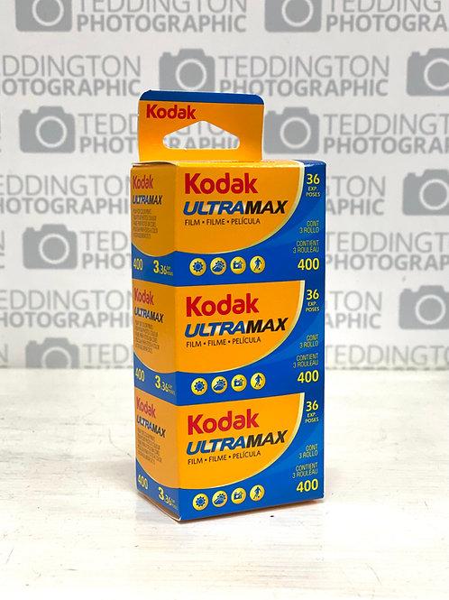 Kodak ULTRAMAX 400 35mm Triple Pack Colour Negative Film. 3 x 36 exposures.