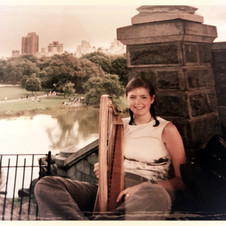 Playing my wee harp in Central Park, New York.