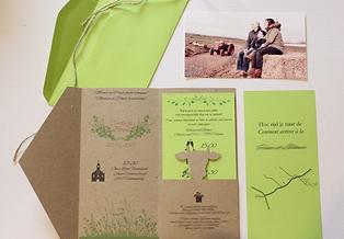 Faire-part Cindy & Boris, mariage champêtre agricole, avec découpe de vache, papier kraft et vert, photo & corde de jute, création Your Big Day