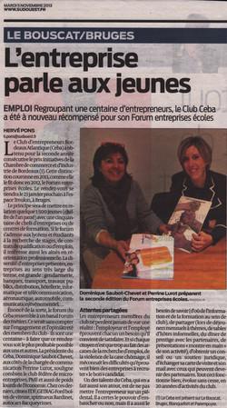 2013-11-05 CEBA Article Sud Ouest