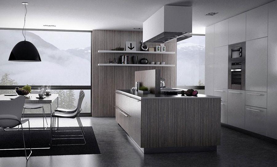 Lovely Dark Brown And Minimalist Grey Modern Kitchen Design With