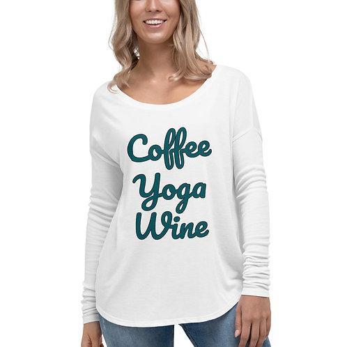 Ladies' Coffee Yoga Wine Long Sleeve Tee