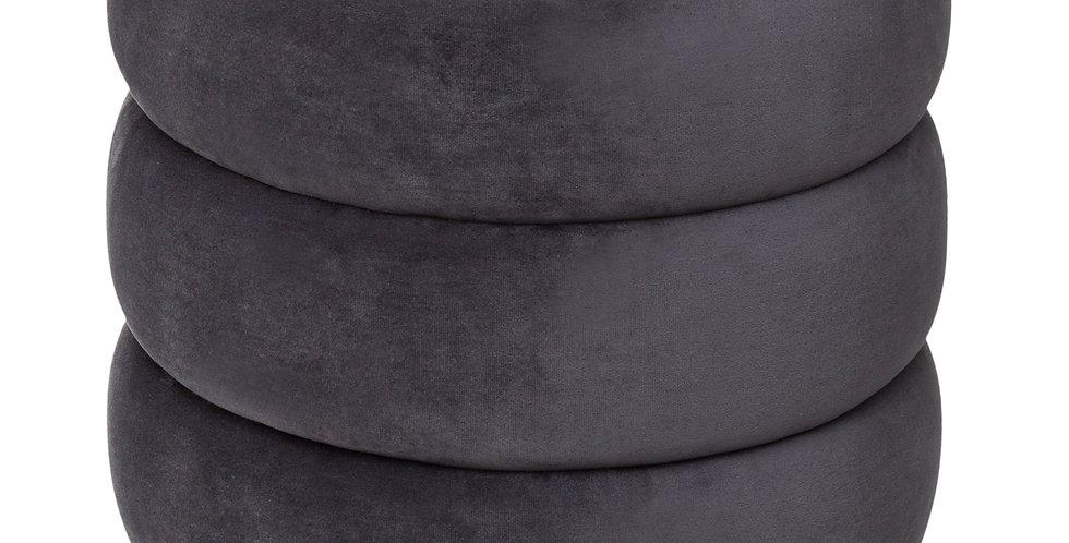 Atmosphera Sinan luxe poef velvet grijs