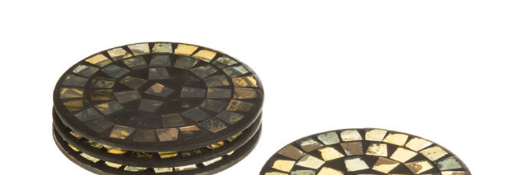J-Line Onderlegger glas Mozaïk X4goud/grijs