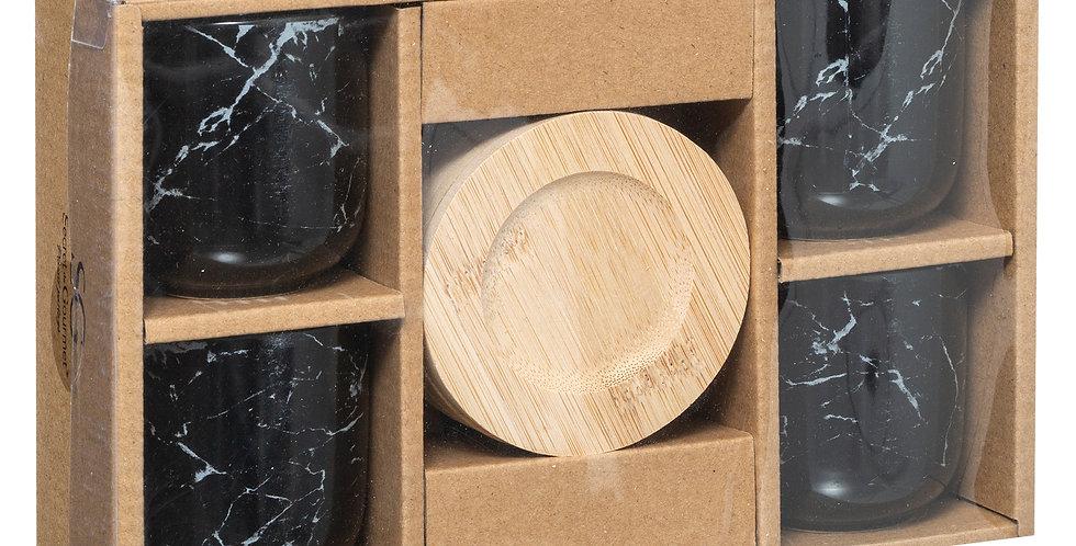 Secret de Gourmet Geo tassen 4 stuks zwart