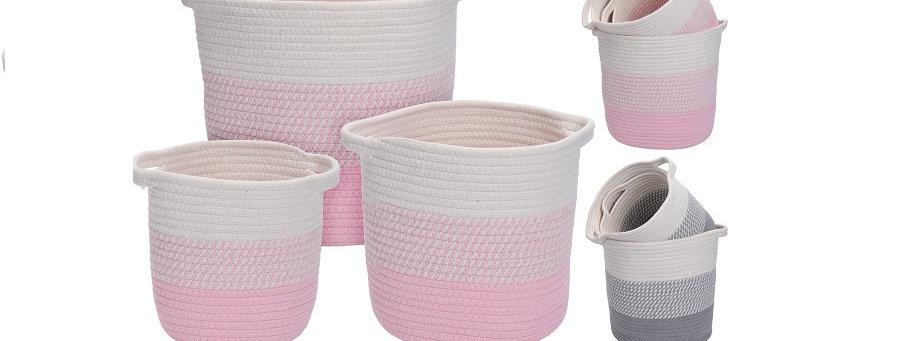 Home & Styling Manden Set Geweven Touw 2 Kleuren Verkrijgbaar