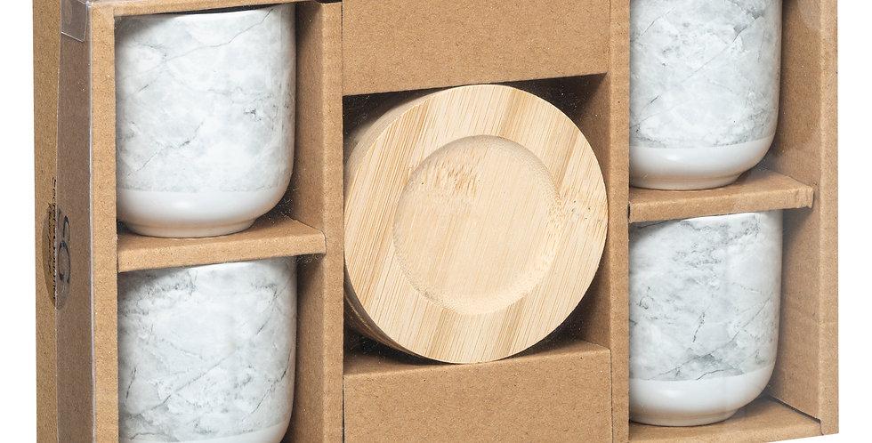 Secret de Gourmet Geo tassen 4 stuks wit