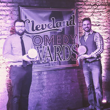 Accepting awards on behalf of the Cleveland Comedy Festival at the 2018 Cleveland Comedy Awards