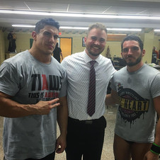 With WWE NXT Superstars EC3 and Johnny Gargano after taking part in a segment with them at AIW's Absolution XI