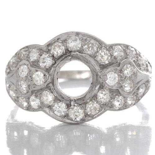 Vintage engagement ring or cocktail ring setting. Diamonds. Platinum. Art deco.