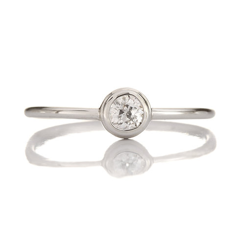Upcycled Diamond Engagement Ring | .25ct Old European Cut | Platinum | Converted from antique Edwardian pin