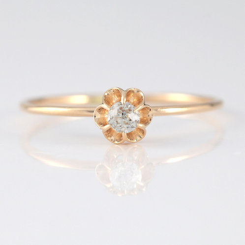Upcycled Diamond engagement ring .10 old European cut.14kt. Converted vintage stick pin from circa 1900.