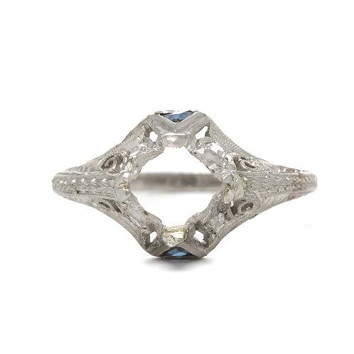 Antique engagement ring setting. Platinum, sapphires. Circa 1920.