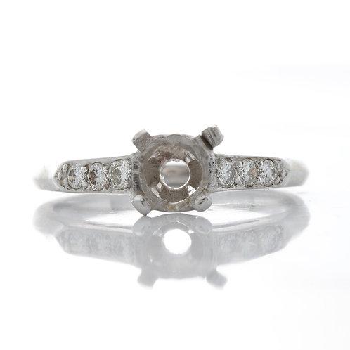 Vintage Engagement ring setting. Diamonds. Platinum. Art deco. Fits 6mm round. Estate ring 1930s.