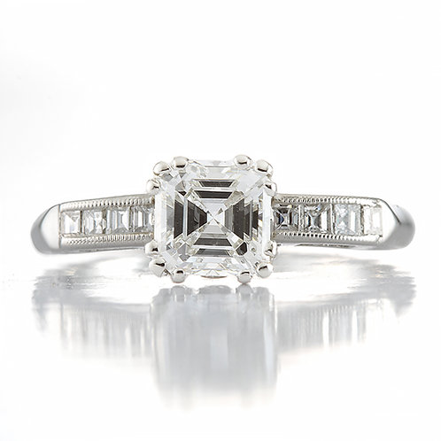1.01ct G Si1 Asscher cut Diamond engagement ring with GIA report.