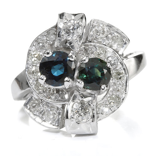 Vintage  Sapphires, old European diamonds ring. 14kt white gold. Art deco.