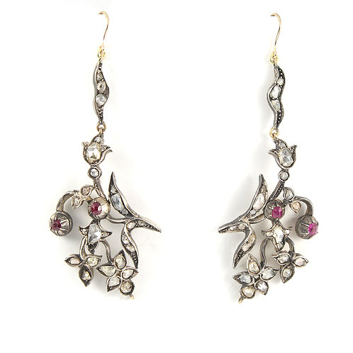 Upcycled Antique Diamond Ruby earrings. 2.50cts rose cut diamonds. Silver. Gold.