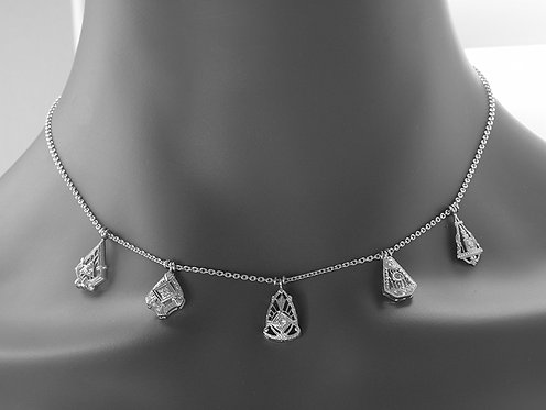 """Necklace with vintage diamond stick pin tops on a new 14kt chain. 16""""."""