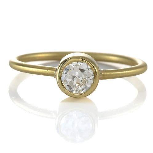 Upcycled old European cut diamond engagement ring .37ct.18kt gold. Handmade.