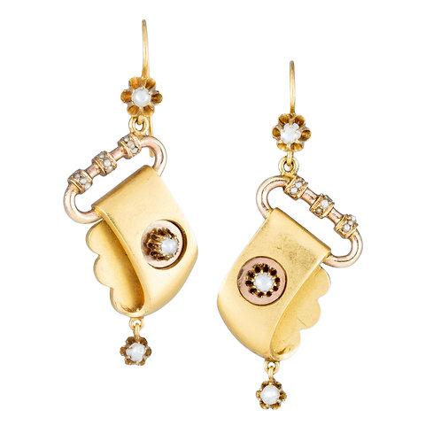 Antique Victorian Earrings. 14kt gold. Split peals. Dangling Drop style.