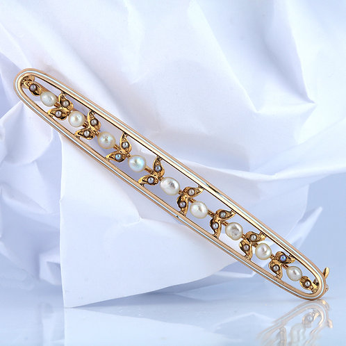 Vintage Pearls Brooch. 14kt Yellow Gold. White Enamel. Victorian. Late 1800s.