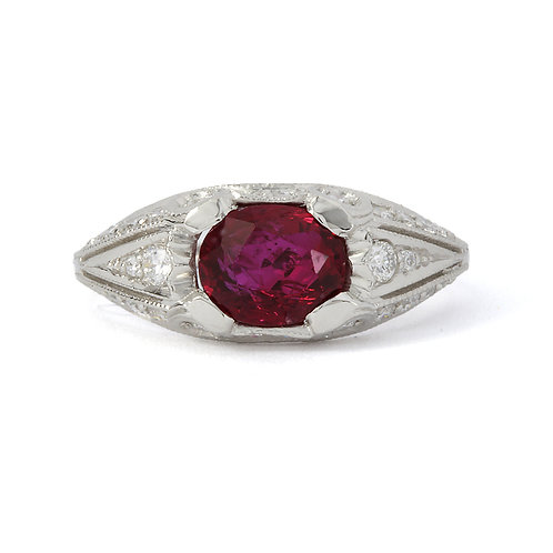 Ruby and Diamond engagement ring 1.70 carat GIA natural Ruby. Platinum.