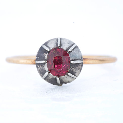 Upcycled Antique red natural spinel ring. 14kt gold. Silver. Engagement ring other. Georgian period.