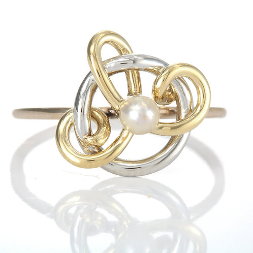 Upcycled antique pearl bypass ring. Platinum, Gold. Converted antique stick pin.