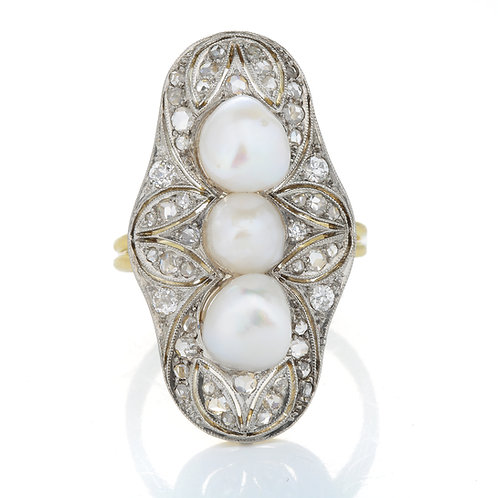 Upcycled antique pearls diamonds ring. Natural freshwater pearls. Old European cut diamonds. Rose cut diamonds. Platinum.