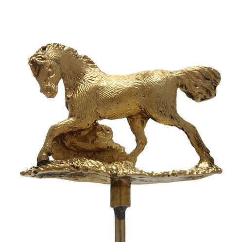 Antique 14kt gold Wild Horse stick pin. Edwardian circa 1900.