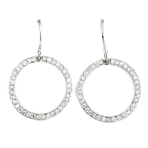 Upcycled antique diamond hoop earrings. Platinum. Edwardian parts.