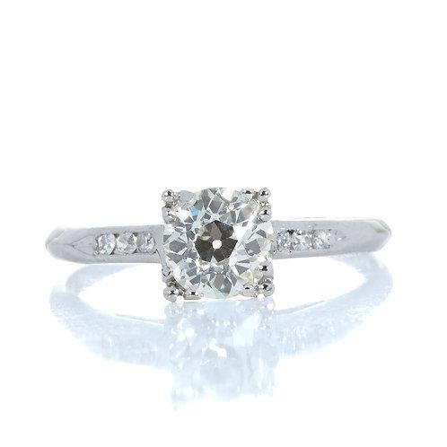 Vintage diamond engagement ring .73 GIA K VS2 old European cut. Platinum. Art deco.