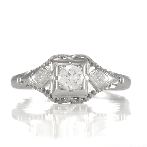 Vintage Diamond engagement ring .20 ct J+ Si1 old European cut 14kt Art deco