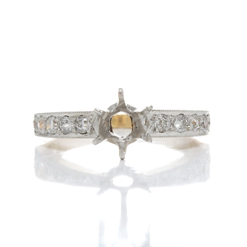 Vintage Engagement ring setting. Diamonds. Platinum. 14kt gold. Fits 6.5mm round