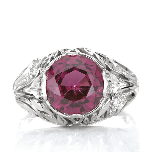 Cocktail Ring. 4ct Rhodolite Garnet. Diamonds. Platinum. GIA. Antique Replica.