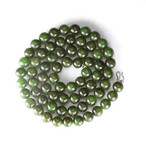 "Vintage Nephrite Jade bead necklace. 25"". Circa 1960. GIA report."