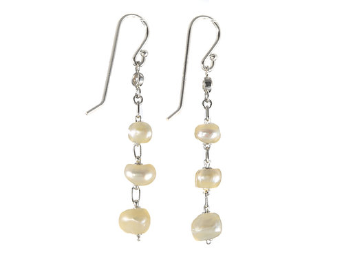 Upcycled antique natural pearls earrings. Old European diamonds. Platinum.