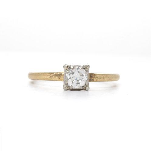 Vintage diamond engagement ring .40 J VS2 old European cut. 14kt gold. 1940's.