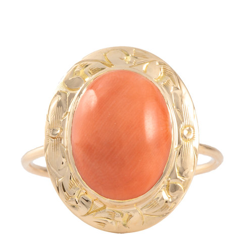 Upcycled Antique orange coral ring. 14kt gold. Converted from stick pin.