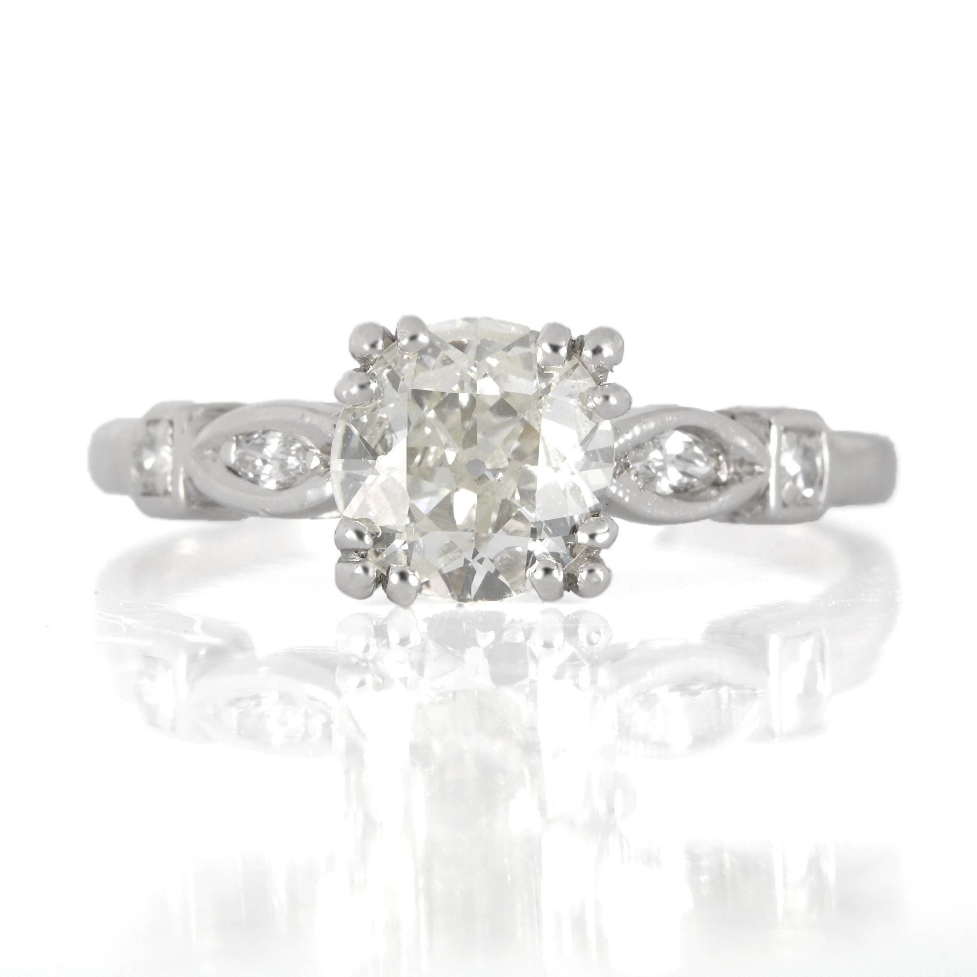 Vintage diamond engagement ring  79 GIA K VS2 old European cut  Platinum