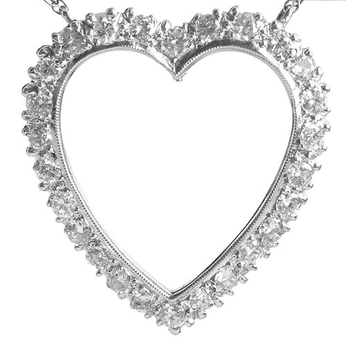 Vintage diamonds Heart Pendant and Chain. 14kt white gold. 1950s