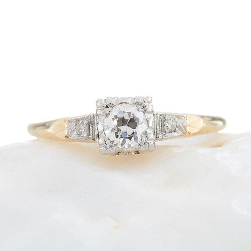 Vintage Diamond engagement ring .25 i+ Si1+ old European cut diamond 14kt