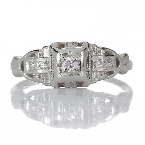 Vintage Engagement ring .05 Old European cut diamond 18kt white gold Art deco