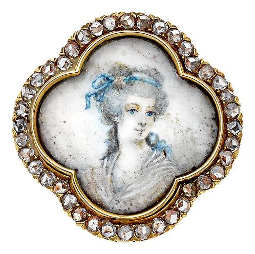 Antique Rose Cut Diamonds Brooch / Pendant. 18kt gold. Victorian 1800s.