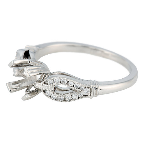 Replica vintage engagement setting. Diamonds. Platinum. Fits 5.7 mm round. Reproduction antique engagement ring.