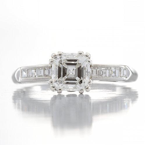 Diamond engagement ring 1.01 ct GIA certified G Si1 Asscher cut platinum with carre cut diamonds
